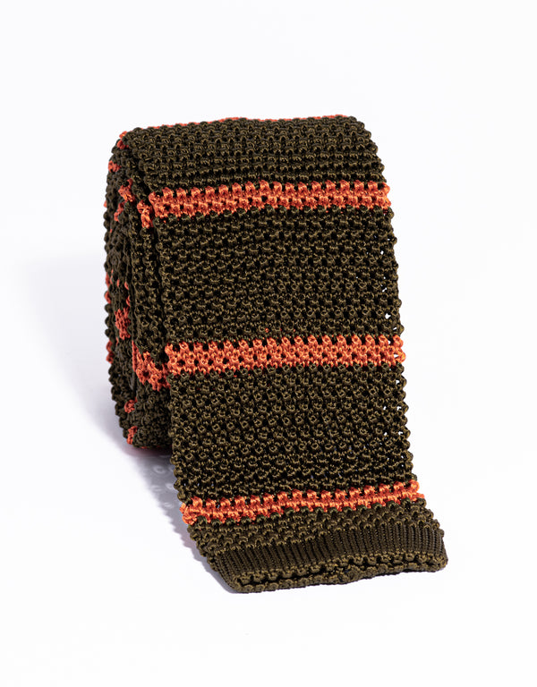 J. PRESS BAR STRIPE KNIT TIE - OLIVE/ORANGE