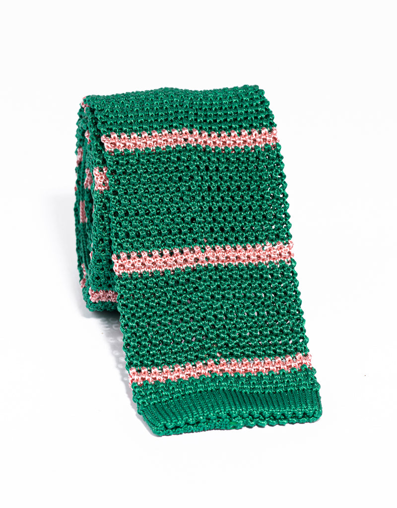 J. PRESS BAR STRIPE KNIT TIE - GREEN/PINK