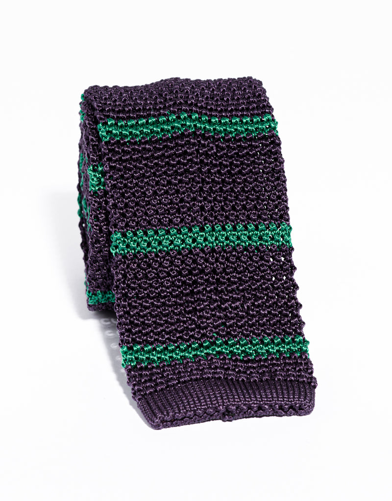 J. PRESS BAR STRIPE KNIT TIE - PURPLE/GREEN