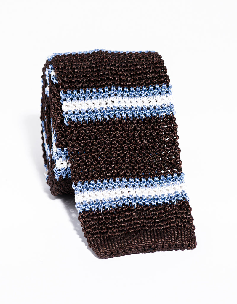J. PRESS STRIPE KNIT TIE - BROWN/LIGHT BLUE/WHITE