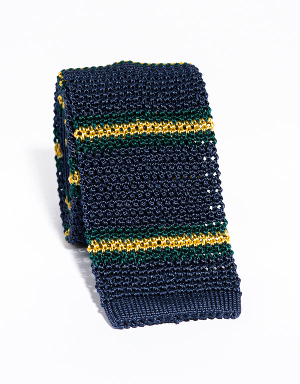J. PRESS STRIPE KNIT TIE - NAVY/GREEN/YELLOW