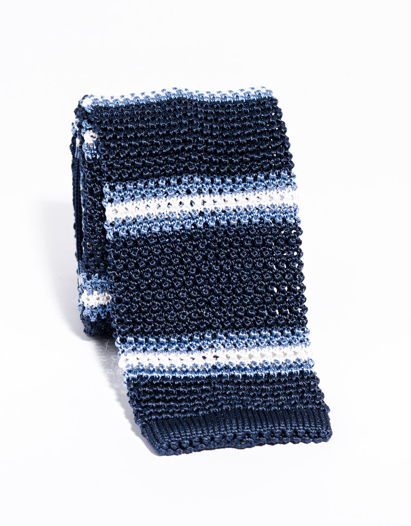 J. PRESS STRIPE KNIT TIE - NAVY/LIGHT BLUE/WHITE