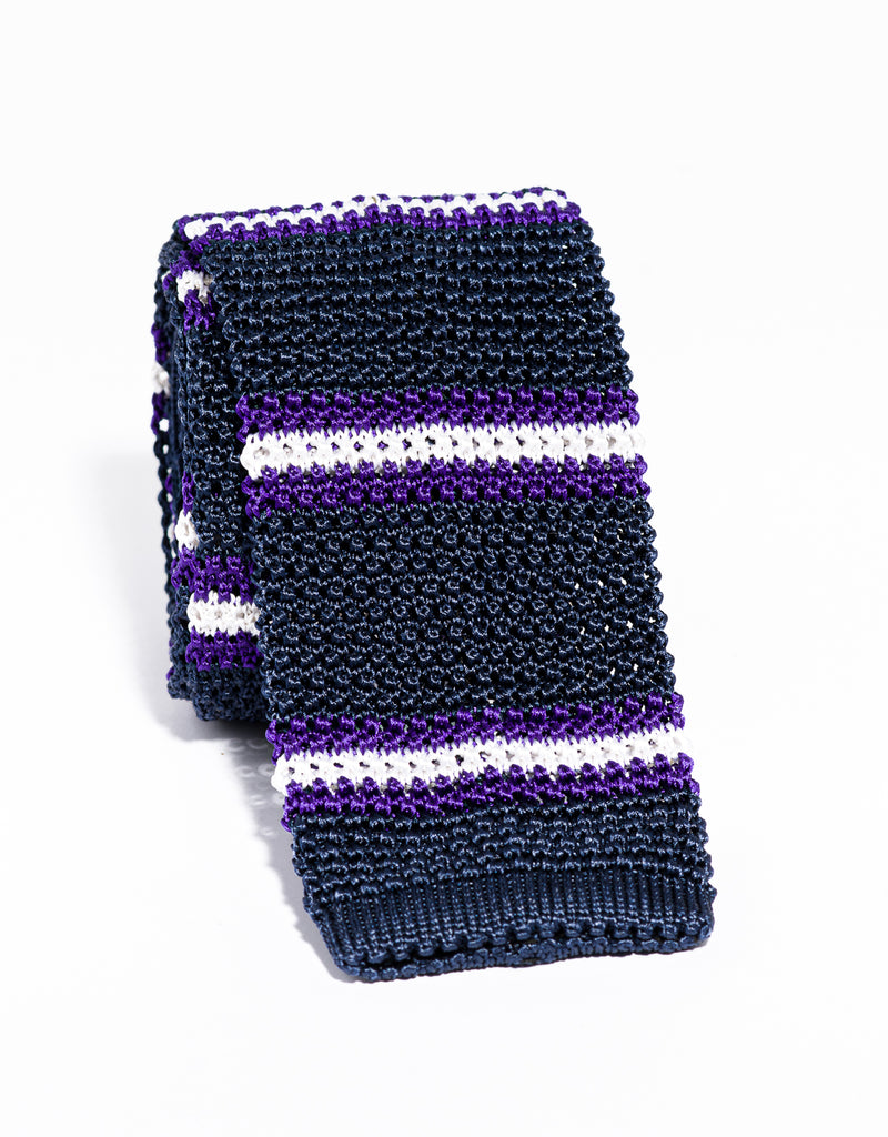 J. PRESS STRIPE KNIT TIE - NAVY/PURPLE/WHITE