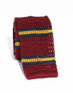 J. PRESS STRIPE KNIT TIE - RED/NAVY/YELLOW
