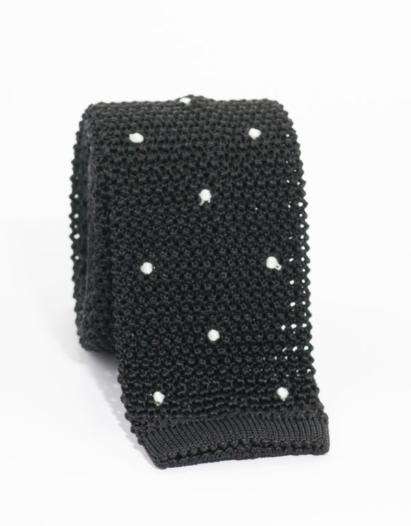 DOT KNIT TIE - BLACK/WHITE