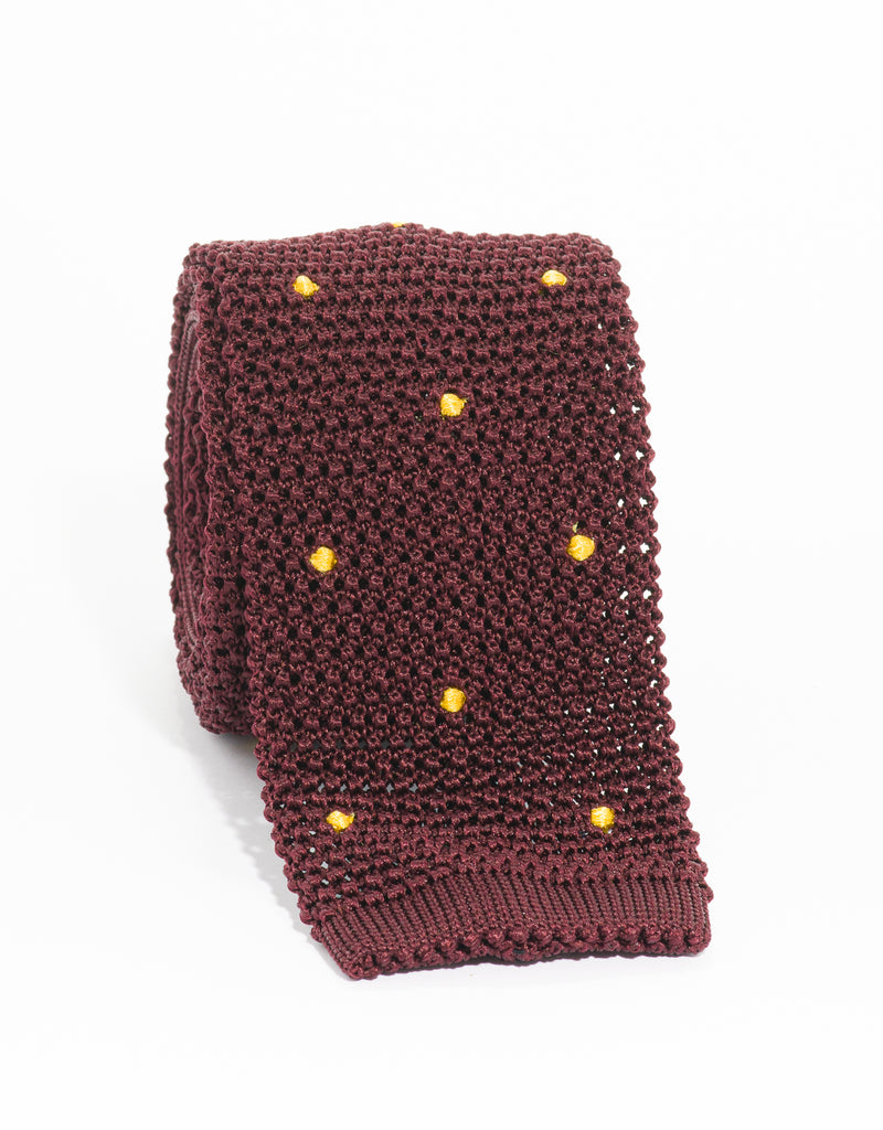 DOT KNIT TIE - BURGUNDY/GOLD
