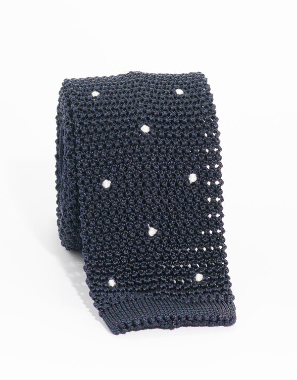 DOT KNIT TIE - NAVY/WHITE