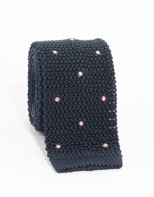 DOT KNIT TIE - NAVY/PINK