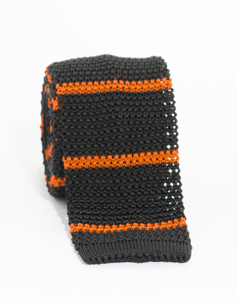 COLLEGE BAR STRIPE KNIT TIE - BLACK/ORANGE
