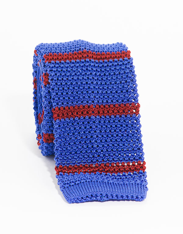 COLLEGE BAR STRIPE KNIT TIE - BLUE/RED