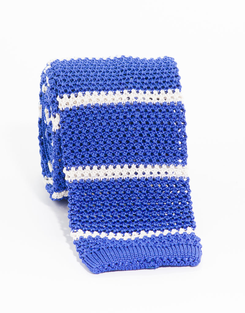 COLLEGE BAR STRIPE KNIT TIE - BLUE/WHITE