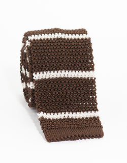 COLLEGE BAR STRIPE KNIT TIE - BROWN/WHITE