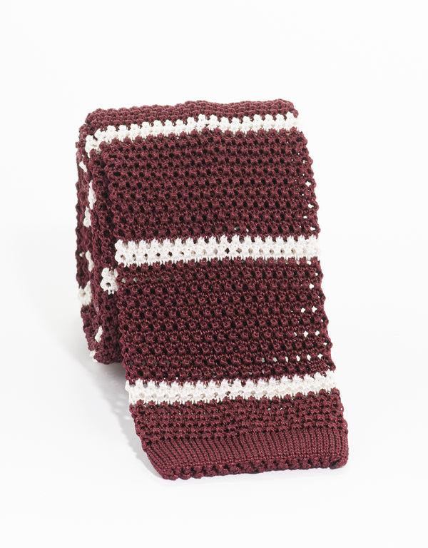 COLLEGE BAR STRIPE KNIT TIE - BURGUNDY/WHITE