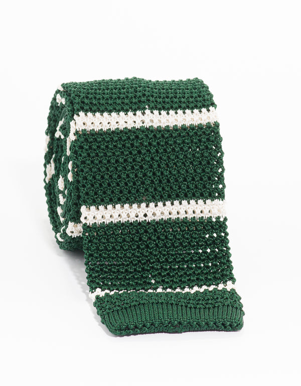 COLLEGE BAR STRIPE KNIT TIE - GREEN/WHITE