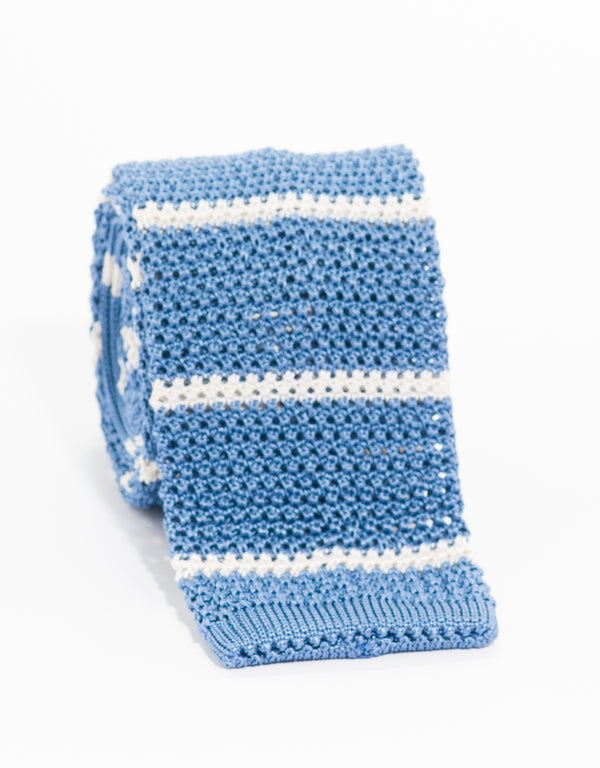 COLLEGE BAR STRIPE KNIT TIE - LIGHT BLUE/WHITE