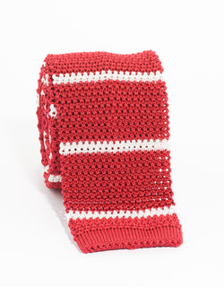 COLLEGE BAR STRIPE KNIT TIE - RED/WHITE