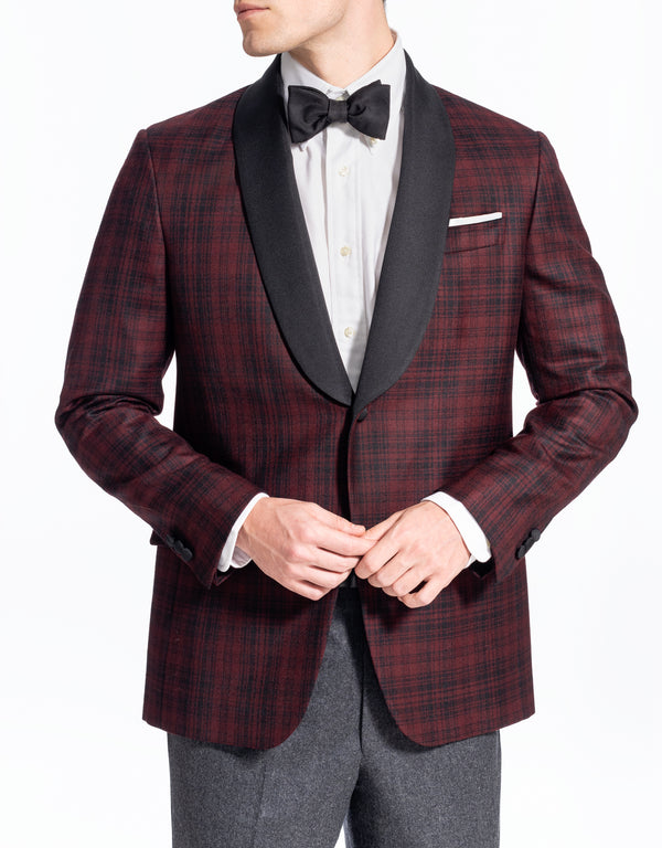 RED TARTAN SHAWL COLLAR DINNER JACKET