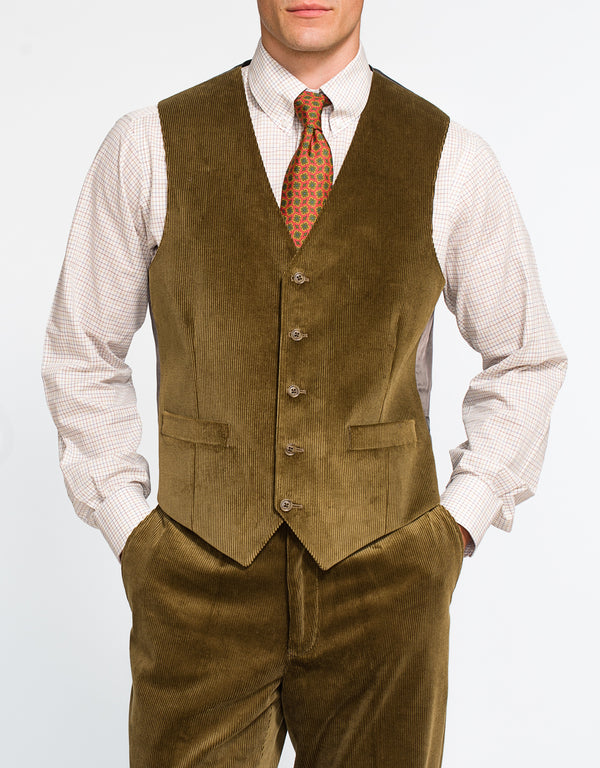 BROWN/OLIVE CORDUROY VEST