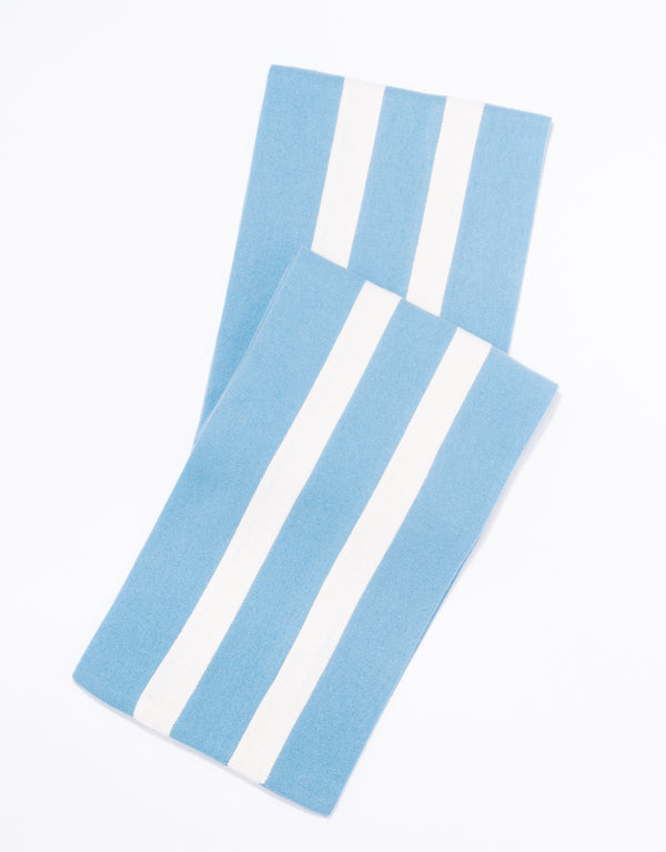 SCHOOLBOY MUFFLER - LIGHT BLUE/WHITE