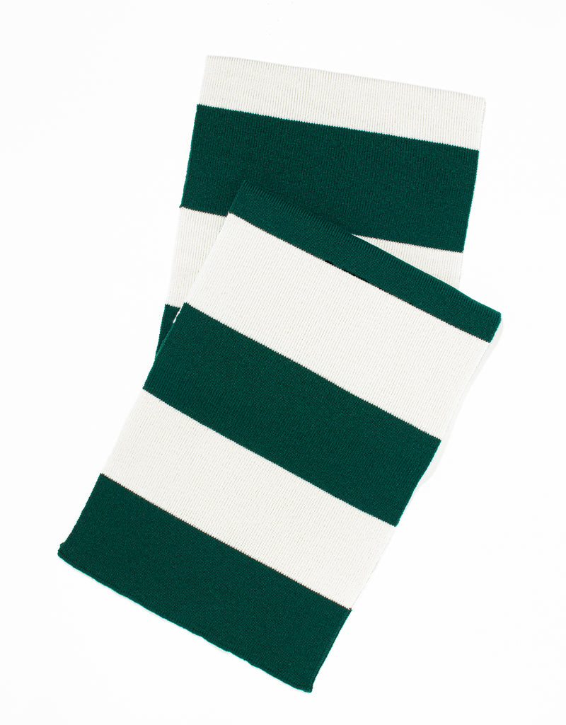 UNIVERSITY STRIPE MUFFLER - GREEN/WHITE