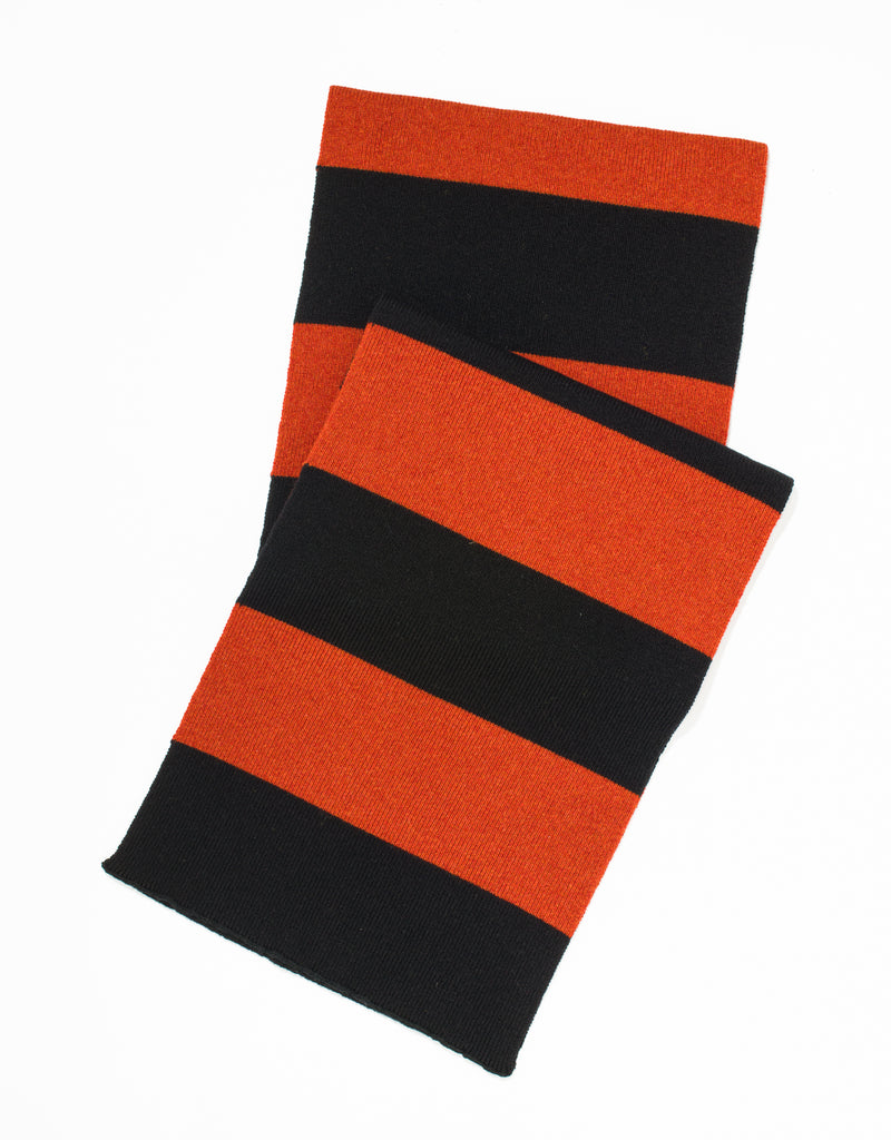 UNIVERSITY STRIPE MUFFLER - BLACK/ORANGE