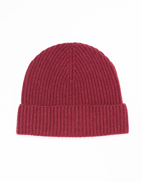 CASHMERE RIBBED HAT - BURGUNDY