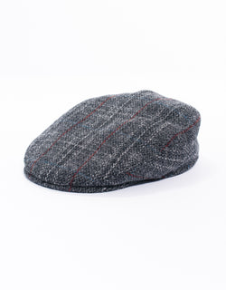 WOOL IVY CAP - GREY WITH RED PANE
