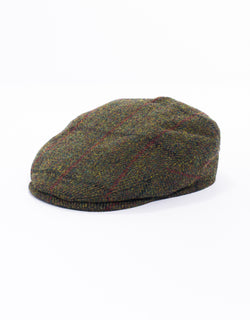 WOOL IVY CAP - OLIVE WITH RED PANE