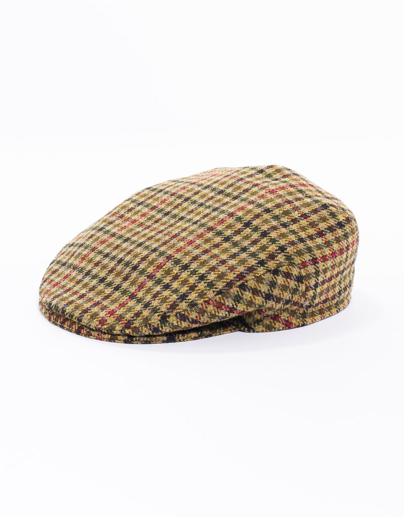 WOOL IVY CAP - TAN MULTI CHECK