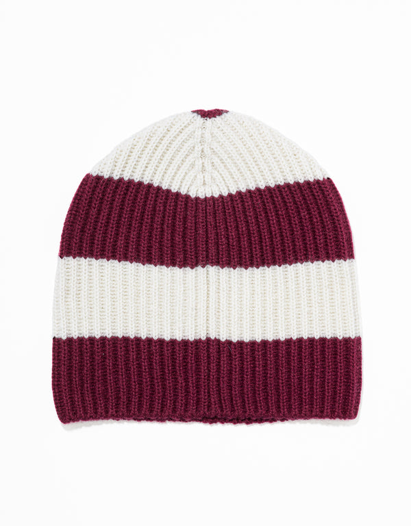 UNIVERSITY STRIPE HAT - BURGUNDY/WHITE