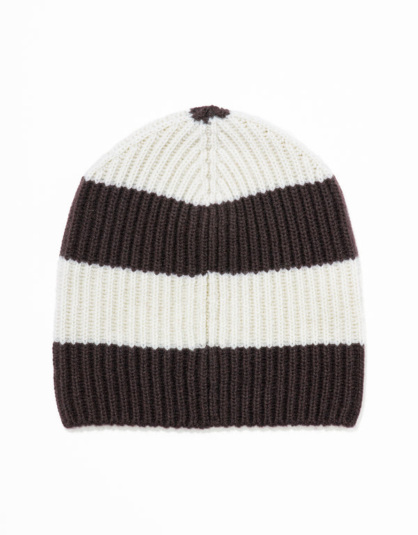 UNIVERSITY STRIPE HAT - BROWN/WHITE
