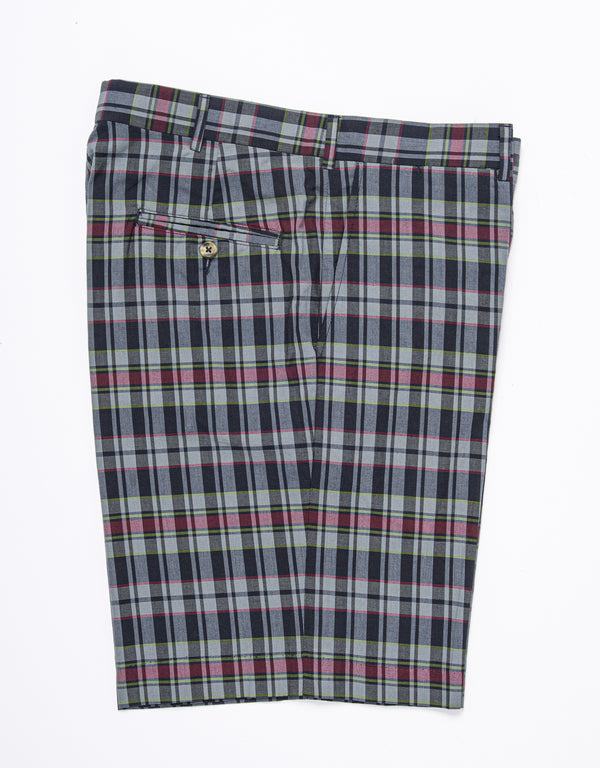 COTTON MADRAS SHORTS - NAVY/BLUE/RED