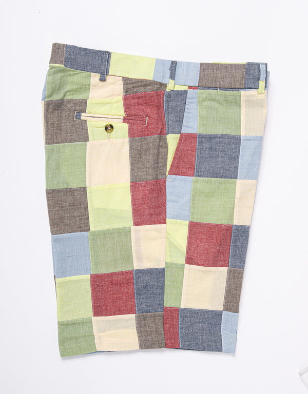 COTTON PATCHWORK CHAMBRAY SHORTS - MULTI