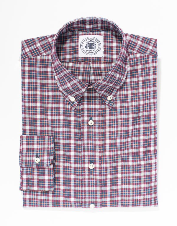 BURGUNDY BRUSHED COTTON PLAID SPORT SHIRT