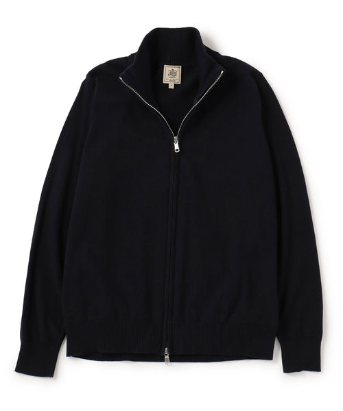 Navy Cotton Cash Full Zip Cardigan