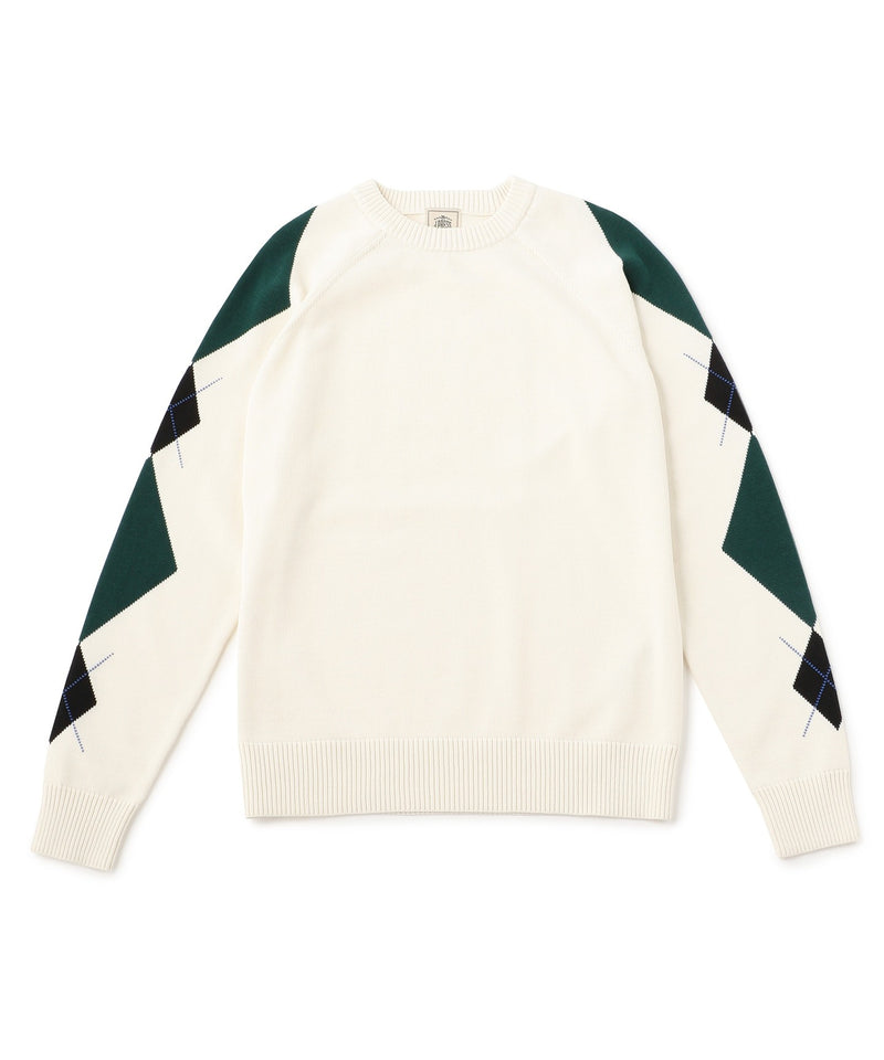 White Huston Gass Crew Argyle SWEATER