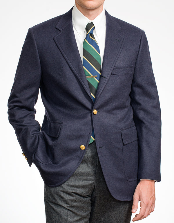 NAVY CASHMERE 3-BUTTON SACK BLAZER
