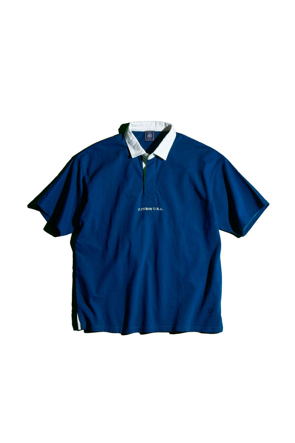 SHORT SLEEVE SOLID RUGBY SHIRT- BLUE