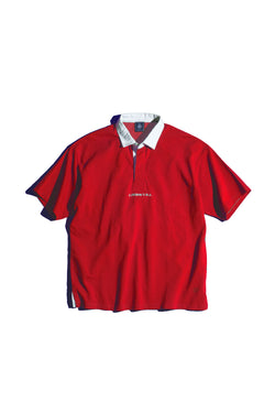 SHORT SLEEVE SOLID RUGBY SHIRT- RED