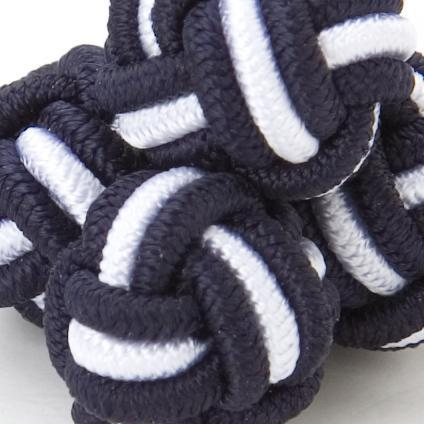 SILK KNOTS ROUND - NAVY/WHITE