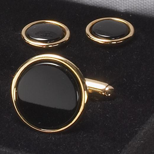 CUFFLINK AND STUD SET - ONYX/GOLD