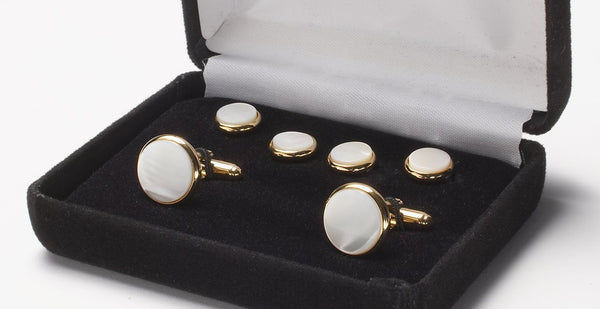 Cufflink And Stud Set Mother Of Pearl Gold