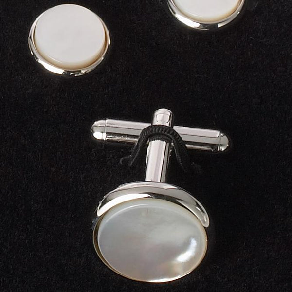 CUFFLINK AND STUD SET - MOTHER OF PEARL/SILVER