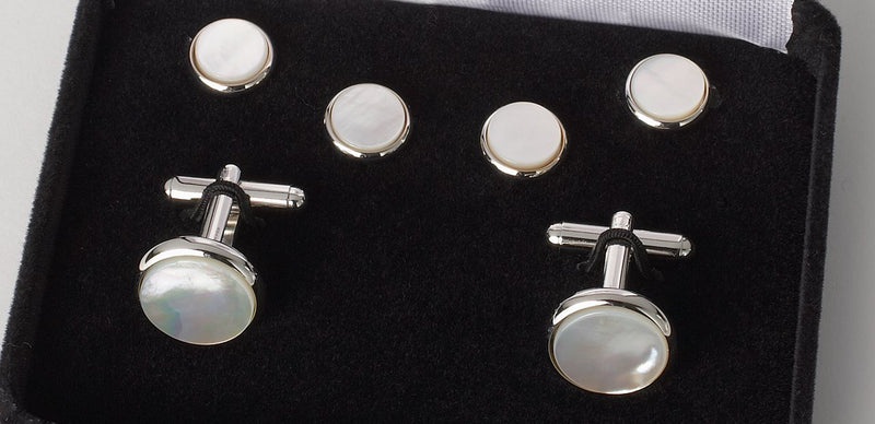 Cufflink And Stud Set Mother Of Pearl Silver