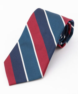 SILK REPP REGIMENTAL TIE - NAVY/BLUE/BURGUNDY/WHITE