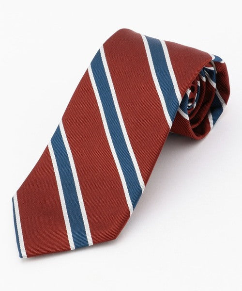 SILK REPP REGIMENTAL TIE - BURGUNDY/BLUE/WHITE