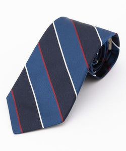 SILK REPP REGIMENTAL TIE - NAVY/BLUE/WHITE/RED