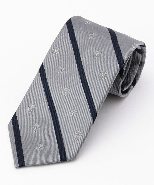 CREST WITH STRIPES TIE - GREY/NAVY
