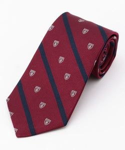 CREST WITH STRIPES TIE - BURGUNDY/NAVY