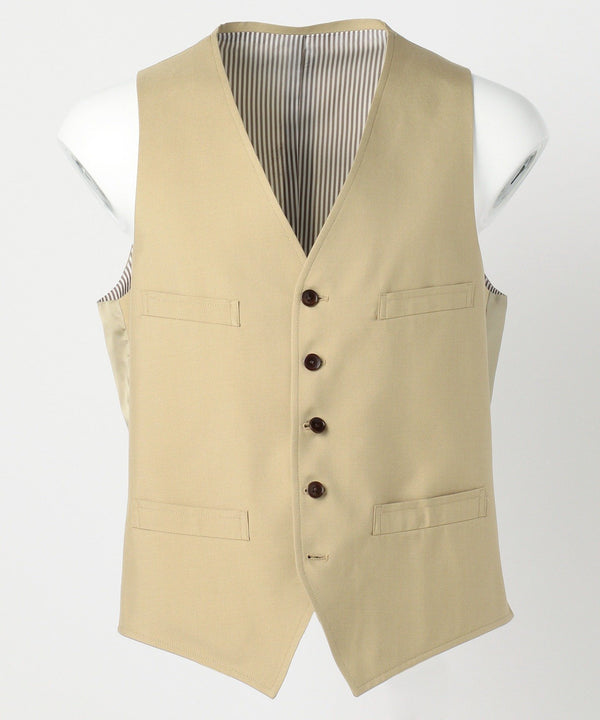 Tan Cotton Silk Gabardine Vest